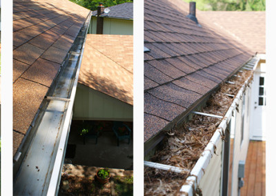 Before and after photos of gutter cleaning